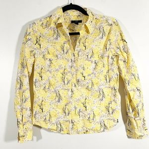 Gap Yellow Printed Snap ButtonFront Popover Blouse